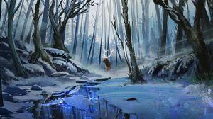 Превью обои олень, арт, лес, река, зима