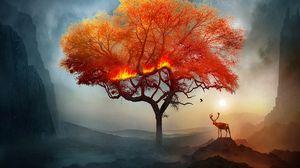 Превью обои олень, дерево, арт, огонь, фантастический