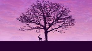 Превью обои олень, дерево, минимализм, облака, небо