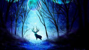 Превью обои олень, лес, ночь, луна, северное сияние, арт