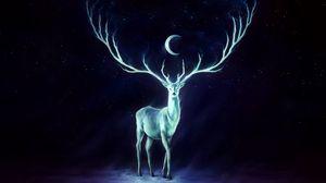 Превью обои олень, рога, луна, звезды