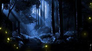 Превью обои олень, силуэт, лес, арт, ночь