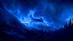 Превью обои олень, силуэт, звездное небо, арт, фантазия