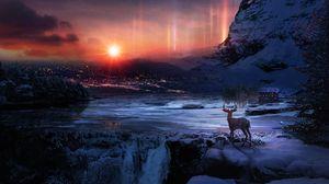 Превью обои олень, зима, ночь, арт, снег