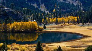 Превью обои осень, озеро, деревья, горы