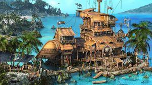 Превью обои остров, корабль, дом, океан, пальмы