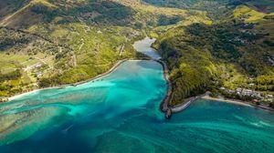 Превью обои остров, вид сверху, океан, берег, маконде, маврикий