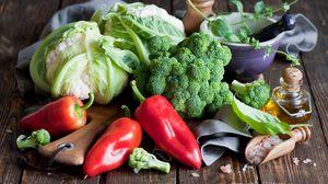 Превью обои овощи, перец, брокколи, капуста