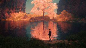 Превью обои озеро, человек, арт, горы, берег