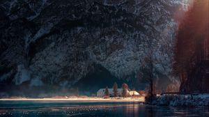 Превью обои озеро, домик, горы, австрия