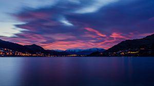 Превью обои озеро, рассвет, горы, горизонт, пейзаж