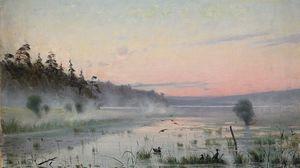 Превью обои озеро, утки, туман, утро, живопись, искусство, камыши