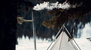 Превью обои палатка, дым, кемпинг, природа