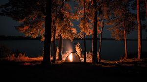Превью обои палатка, костер, кемпинг, ночь, природа
