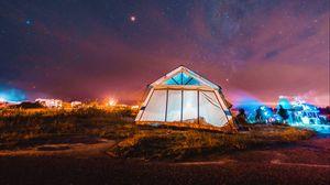 Превью обои палатка, ночь, звездное небо, кемпинг