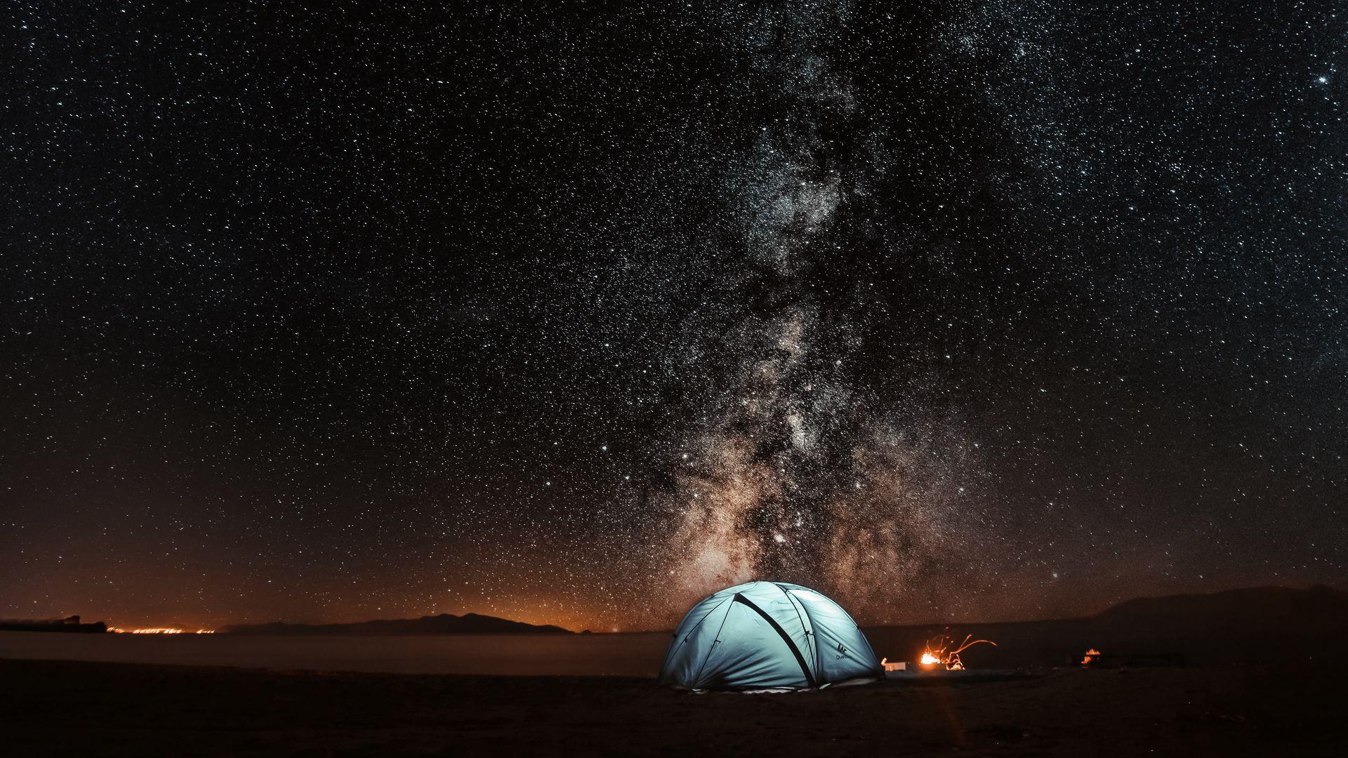 1920x1080 Обои палатка, звездное небо, ночь, туризм