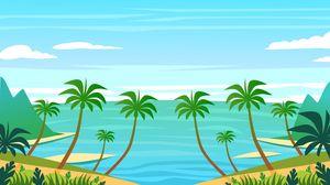 Превью обои пальма, остров, арт, вода