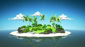 Превью обои пальмы, остров, 3d, облака