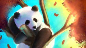 Превью обои панда, милый, дерево, арт, красочный