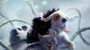 Превью обои панда, кот, собака, щупальцы, робот, осьминог