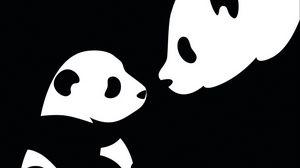 Превью обои панда, рисунок, черный, белый