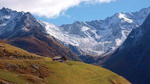 Превью обои панорама, горы, вершина