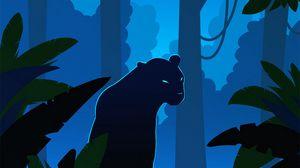 Превью обои пантера, силуэт, вектор, джунгли, арт