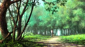 Превью обои пара, объятия, арт, лес, парк, любовь, романтика
