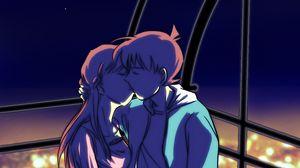 Превью обои пара, поцелуй, арт, любовь, аниме