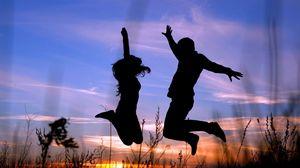 Превью обои пара, прыжок, тень, силуэт, трава, ночь