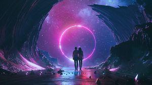 Превью обои пара, звездное небо, арт, космос, объятия