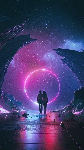 360x640 Обои пара, звездное небо, арт, космос, объятия