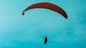 Превью обои параплан, парашют, парашютист, небо