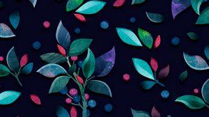 Превью обои паттерн, ветки, листья, ягоды, разноцветный