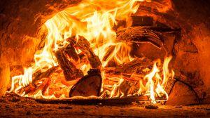 Превью обои огонь, дрова, пламя