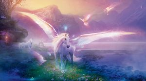 Превью обои пегас, лошадь, магия, цветы
