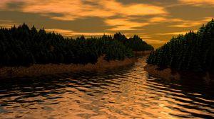 Превью обои пейзаж, 3д, арт, река, деревья