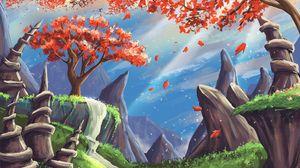 Превью обои пейзаж, арт, дерево, горы, скалы, водопад