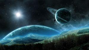 Превью обои планета, сатурн, спутник, кольца, космический, ночь