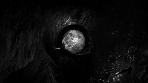Превью обои пещера, птица, шар, камни, темный, тень