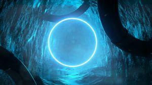 Превью обои пещера, круг, свечение, яркий, 3d