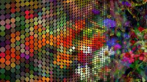 Превью обои пиксели, круги, разноцветный, арт