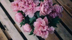 Превью обои пионы, цветы, букет, розовый