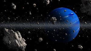 Превью обои планета, астероиды, космос, синий, астероидный пояс
