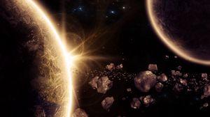 Превью обои планета, астероиды, свечение, космос, 3d
