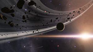 Превью обои планета, астероиды, вспышка, космос, звезды