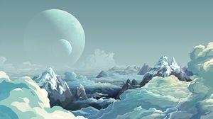 Превью обои планета, горы, арт, облака, вершины