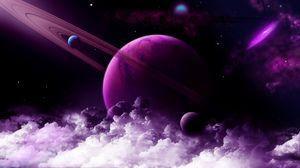 Превью обои планета, кольцо, фиолетовый, облака, космос