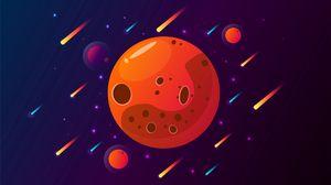 Превью обои планета, кометы, космос, звезды