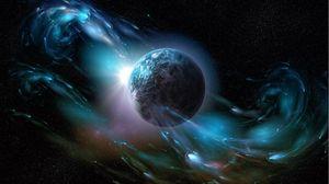 Превью обои планета, космический ветер, пространство